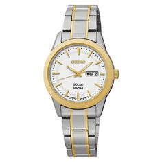 Buy Seiko SUT162P1 Women's Solar Stainless Steel Bracelet Strap Watch, Silver/Gold Online at johnlewis.com