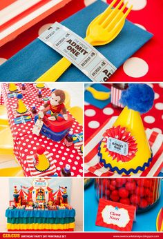 CURIOUS George Circus Birthday Party Printable Set by Sweet Scarlet Designs. Styling by Styled by Belle