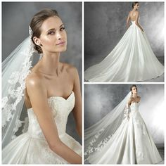 #Pronovias, 2016 - Primura #Wedding Dress   Mikado silk princess wedding dress. Bodice with sweetheart neckline and narrow mikado silk belt at the waist. Full skirt with side pockets decorated with Chantilly lace appliqués, thread embroidery and gemstones with gathers at the back   Find a stockist near you with Confetti.co.uk