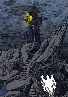 'Moominhouse Ghost' by Tove Jansson Moomin Valley, Tove Jansson, Children's Book Illustration, Finland, Lighthouse, Childrens Books, Fantasy Art, Fairy Tales, Cool Art