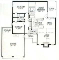 First Floor Plan of House Plan 65981