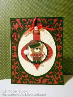 Christmas card using Teddy Bear Parade, Fancy Frames and TC Ornaments