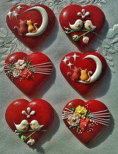 Handmade Valentine's Day Decorated Cookies Gifts 6 pieces Fancy Cookies, Heart Cookies, Iced Cookies, Royal Icing Cookies, Cupcake Cookies, Sugar Cookies, Flower Cookies, Easter Cookies, Christmas Cookies