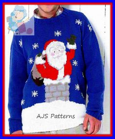 This PDF Knitting Pattern is for a Festive Sweater with a fun Santa Claus or Father Christmas Motif that is simple to do, worked by using a clear graph. To fit 32 to 54 chests. Knitted with DK (light worsted/ 8 ply) wool. You will require a pair each of 3.25 mm (UK