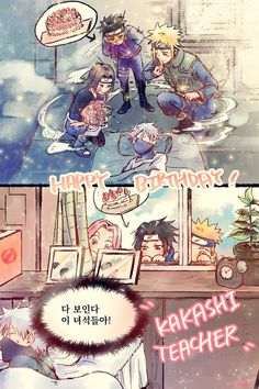 Kakashi& teams planning to surprise him for h. Anime Naruto, Naruto Comic, Naruto Shippuden Sasuke, Naruto And Sasuke, Kakashi Sensei, Naruto Cute, Sakura And Sasuke, Gaara, Team Minato