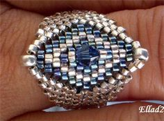 TUTORIAL Silver Blue...Ring Bead pattern by Ellad2 on Etsy