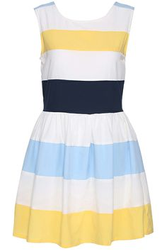 ROMWE | ROMWE Striped Print Sleeveless Yellow Dress, The Latest Street Fashion