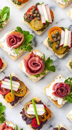 These perfectly easy canapés can be made ahead of time, are served cold, and are simply perfect for a fancy Spring or Summer celebration! With homemade pesto, olive tapenade and chive cream cheese, yo Easy Canapes, Canapes Recipes, Appetizer Recipes, Easter Appetizers, Fancy Appetizers, Canapes Ideas, Spanish Appetizers, Seafood Appetizers, Cheese Appetizers