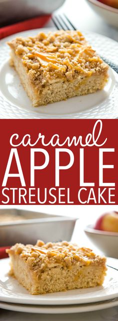 This Caramel Apple Streusel Cake is the perfect fall and winter dessert with an easyto make tender cake base fresh apples and a delicious streusel topping drizzled with c. Fall Dessert Recipes, Delicious Cookie Recipes, Winter Desserts, Apple Desserts, Party Desserts, Yummy Cookies, Apple Recipes, Cupcake Recipes, Cupcake Cakes