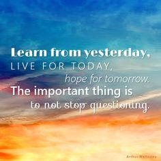 """Inspirational Quotes- """"Learn from yesterday, live for today, hope for tomorrow. The important thing is to not stop questioning."""" ~Arthur Wellesley"""