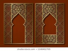 Similar Images, Stock Photos & Vectors of Vintage frames in form of oriental door and window. Brochure, book or greeting card golden cover backdrop design. Creation Art, Creation Deco, Vintage Frames, Arabesque, Birthday Background Wallpaper, Vintage Backdrop, False Wall, Window Manufacturers, Oriental
