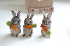 tiny rabbit trio. three needle felted wool bunny rabbits. orange carrots. miniature felted animals. spring garden decoration. easter gift.