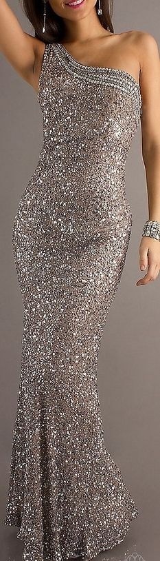 silver glitter gown