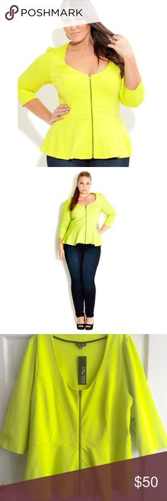 Zip Through Peplum Top CITY CHIC USA /  Peplum Zip Thru Jacket, NWT - PLUS SIZE, City Chic size XXL = US 24/26 - Scoop neck with full front zip - Waist peplum - 3/4 sleeve - Gathering at shoulders - 60% viscose, 35% polyester, 5% elastane {lots of stretch} ***Please check online size chart for specific measurements*** ✅ Brand new with tags- never worn ✅ NO trades / NO low-balling ✅ List price is fair and highly discounted✌️ City Chic Tops