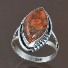 ORANGE COPPER TURQ 925 SOLID STERLING SILVER RING JEWELRY 5.22g DJR8999 SIZE-8 #Handmade #Ring