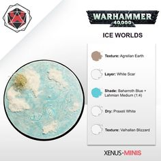 """""""Today we're taking a look at how to easily paint Ice World bases! Perfect for your Space Wolves, Grey Knights or Valhallan Ice Warriors. What's even better is there will be a video tutorial available on Saturday too! Warhammer Ogre, Warhammer 40k Space Wolves, Warhammer Paint, Warhammer Terrain, Warhammer Models, Warhammer 40k Miniatures, Painting Recipe, Painting Tips, Painting Techniques"""
