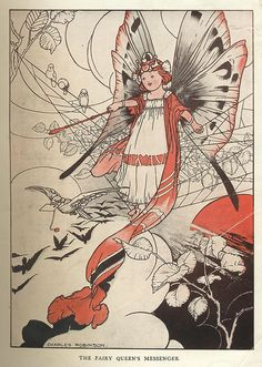 The Fairy Queen's Messenger By Charles Robinson . From the book, The Story Of The Weathercock by Evelyn...