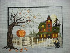 Judith Kirby Victorians Halloween House 9 Finished Cross Stitch Awesome | eBay