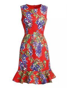 RED ROUND NECK SLEEVELESS FLORAL PRINT RUFFLE DRESS | #USTrendy www.ustrendy.com
