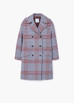 Check wool-blend coat   MANGO