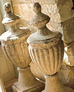 gorgeous stone urn finials- I would love to have these in my garden Architectural Antiques, Architectural Elements, Salvaged Decor, Urn Planters, Urn Vase, Garden Urns, Garden Ornaments, French Decor, Traditional House