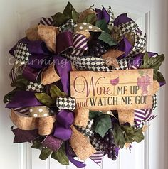 A personal favorite from my Etsy shop https://www.etsy.com/listing/453190834/wine-wreath-wine-decor-grape-decor-wine