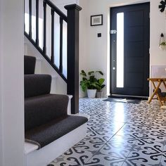 Derby porcelain floor tiles image courtesy of Black And White Hallway, Hallway Flooring, Tile Floor, Tiles, Stairs, Porcelain Floor, Derby, House, York