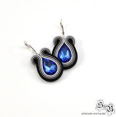 Small Black Gray Blue Soutache Earrings, Soutache Earrings, Dangle Earrings, Small Earrings, Small Black earrings,Gray Embroidered Earrings by SBjewelrySoutache on Etsy