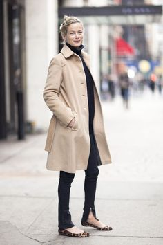 trench & leopard flats