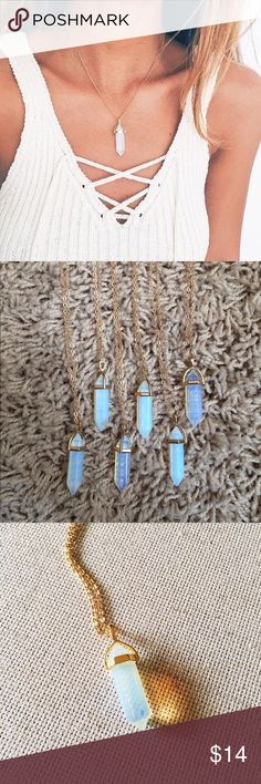 "❗️LAST ONE ❗️Aurora""Healing Stone""Crystal Necklace •Length Approximately 4.1CM •OPALITE (RAINBOW COLOR) • EACH CRYSTAL IS NATURAL, UNIQUE IN IT'S OWN WAY, NOT ONE CRYSTAL LOOKS EXACTLY THE SAME!    ✭Price is firm ☾I do NOT trade ✭10% off 2+ item bundles Instagram @Yami.Boutique Yami Boutique Jewelry Necklaces"