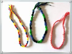 Here is a set of 3 friendship bracelets, great for boys and girls, just tie them to fit your wrist, great gift for children's birthdays, just one set available xx