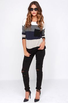 Hot Cocoa Navy Blue and Black Striped Sweater $60 http://www.lulus.com/products/hot-cocoa-navy-blue-and-black-striped-sweater/184362.html