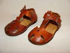 Vintage Heirloom Leather Baby Shoes Sandles