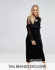 TFNC Tall High Neck Pleated Lace Midi Dress With Long Sleeves And Velvet Strips