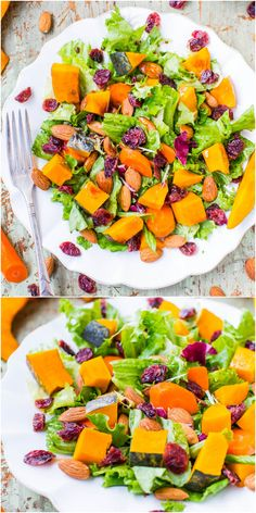 THURS LUNCH: Roasted Winter Squash, Cranberry, and Almond Salad with Lemon Dijon Balsamic Vinaigrette (vegan, GF) - A hearty & satisfying salad to help you stay healthy & on track! Healthy Salad Recipes, Raw Food Recipes, Vegetarian Recipes, Cooking Recipes, Salad Bar, Soup And Salad, Stay Healthy, Healthy Eating, Squash Salad