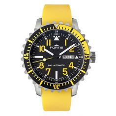 Fortis Aquatis Marinemaster Yellow Fortis was one of the leading forces in the development of water resistant watches. Fortis launched the Marinemaster models onto the international market in the 1940's. The characteristic turning bezel a