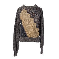 Koos Van Den Akker Vintage Sweater in Mixed Texture Wool Curly Lambswool 36B | From a collection of rare vintage sweaters at https://www.1stdibs.com/fashion/clothing/sweaters/