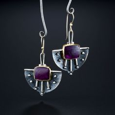 Sugilite Earrings. Fabricated Sterling Silver, 14k and 18k Gold. www.amybuettner.com https://www.facebook.com/pages/Metalsmiths-Amy-Buettner-Tucker-Glasow/101876779907812?ref=hl https://www.etsy.com/people/amybuettner http://instagram.com/amybuettnertuckerglasow