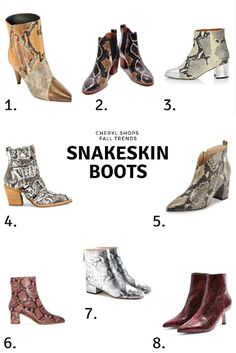 Snakeskin print is the trend that just won't quit—I featured it back in spring , and also last fall . And while it may never replace my firs. Casual Fall Outfits, Chic Outfits, Autumn Casual, Mid Calf Boots, Thigh High Boots, Ankle Boots, Winter Fashion Boots, Fall Fashion, Style Fashion