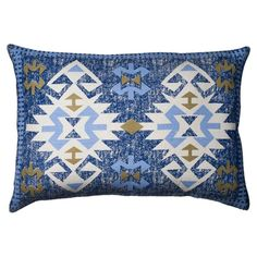 Lend a pop of pattern to your sofa, arm chair, or bed with this eye-catching cotton pillow, showcasing a Southwestern-inspired motif in indigo. Rustic Pillows, Outdoor Throw Pillows, Decorative Throw Pillows, Wool Pillows, Cotton Pillow, Throw Pillow Sets, Lumbar Pillow, Joss And Main, Amanda