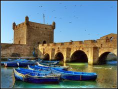 The harbour fortifications in Essaouira,Morocco
