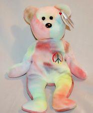 Ty Beanie Babies / Retired: Peace The Ty-Dye Bear Peace Beanie Baby, Beanie Babies, Ty Beanie, Ty Dye, 90s Toys, Baby Items, Smurfs, Bear, Money