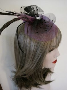 Purple Fascinator fascinator feather hair clip by FromHeart2Home, $45.00