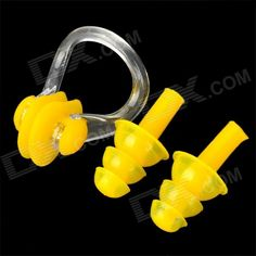 Quantity: 1; Color: Yellow; Material: Silicone; Other Features: Keep water out of your ears and nose while swimming; Packing List: 1 x Nose clip; 2 x Earplugs; http://j.mp/1p116Et