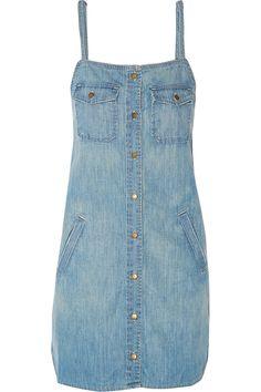 Current/Elliott|The Strappy Perfect denim mini dress|NET-A-PORTER.COM
