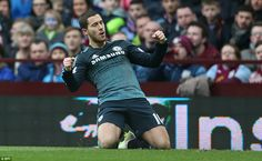 Hazard celebrates first goal in Aston Villa 1-2 Chlesea (EPL) 07th February, 2015
