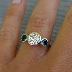 dying...Forever Brilliant Moissanite, Chatham Emerald, and Recycled 14k White Gold Three-Stone Wedding or Engagement Ring - Eco-Friendly