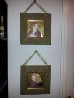 Fake a fancy-ribbon hanging from a pretty tack and taped to picture corners.