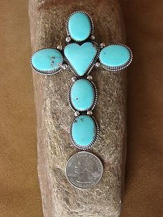 Navajo-Indian-Jewelry-Large-Sterling-Silver-Turquoise-Cross-Pendant-G-Boyd