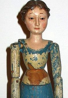 Folk Art - Carved Wood Figure of a Woman.